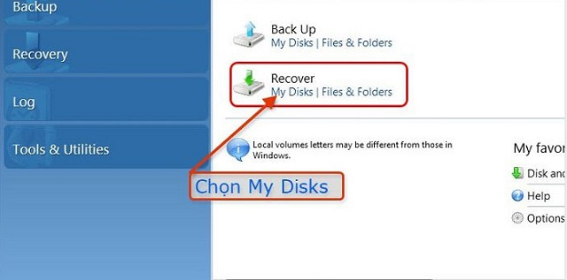 Backup từ Recover
